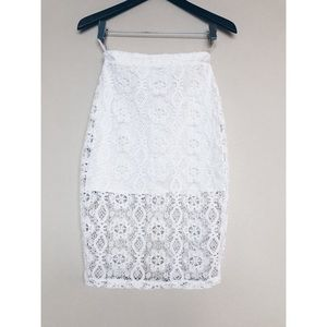 Lovers + Friends White Lace Skirt